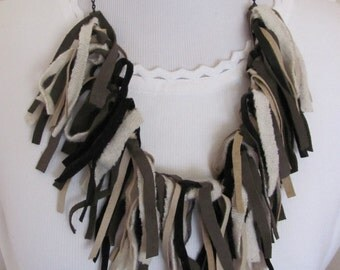 Beautiful Brown Suede Leather Fringe Bib Necklace (#2)