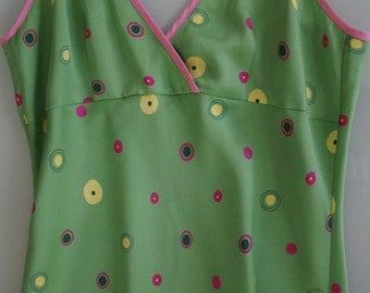 Lounge in Luxury! Vert Green with Pink & Yellow Mod Circle Print Satin Feel Maxi Nightie- Size Small