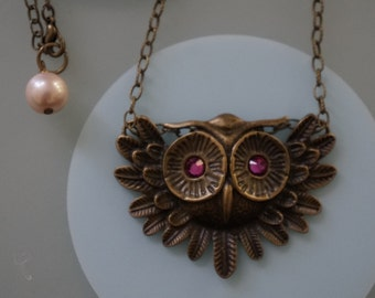 A Wise Old Owl Once Told Me- Dark Metal Owl Plate Necklace with Blazing Pink Rhinestone Eyes!