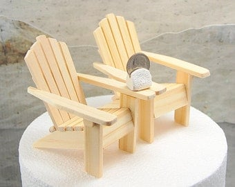 "2 Adirondack Beach Chairs Small For 5""  Wedding Cake Top Unfinished  Handmade To Order"