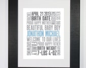 2nd Baby 8x10 Typography Print Letterpress Style Custom Birth Announcement Modern Word Art Subway Art