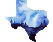Texas Sky, print from original watercolor illustration by Jessica Durrant