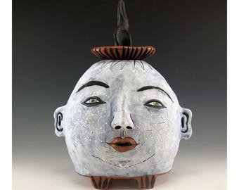 Stunning Two Faces Ceramic Lidded Jar by Jenny Mendes