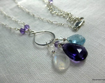 Amethyst, Rainbow Moonstone and Aquamarine Infinity Necklace in Sterling Silver
