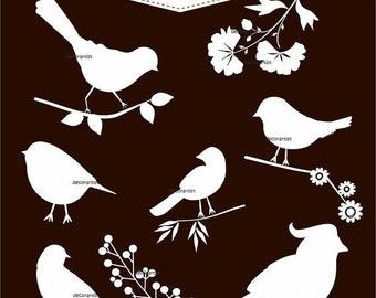 ON SALE INSTANT Download Digital clipart bird, white bird collection