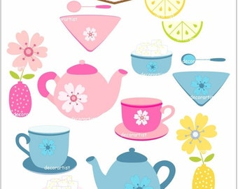 ON SALE clipart tea party, tea set ,tea party clip art, pink tea cup, tea pot clip art