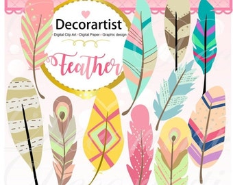 ON SALE Feathers clipart, feather clipart, painted feathers clipart