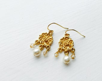 Pearl peach champagne swarovski crystal gold flower earrings