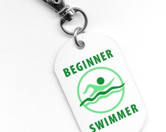 Green BEGINNER SWIMMER Pool Safety Alert 2.25 inch Aluminum Core Dog Tag 2-Side