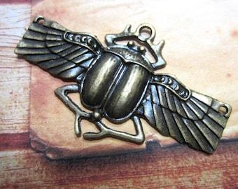 2 Bronze scarab pendant jewelry charms Egyptian beetle God Khepri 62mm x 38mm Bus331-BB-2