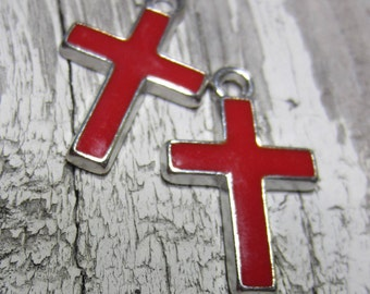 12 Silver pendant cross charms antiqued metal  red cross enameled charms 26mm x 16mm HP1368-SR5-4