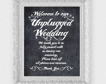 unplugged wedding sign - printable file - welcome wedding signage faux chalkboard instant download ceremony decoration no phones no cameras