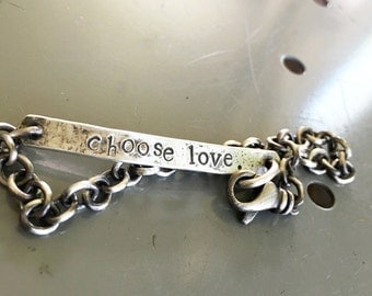Rustic Sterling Silver Personalized ID Style Bracelet