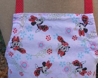 Girl's apron, Minnie Mouse apron,  ruffled apron