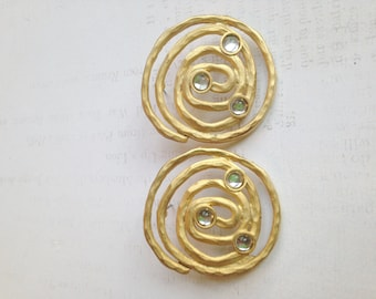 80's SWIRLY Post Earrings with Round Crystal Accents / SWIRLs/ 80's OVERSized Earrings