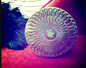 Mermaid Treasure - STARLET'S DELIGHT- Deluxe Sized Customized Solid Perfume in Vintage Art Deco Gold Sunburst Glamour Compact