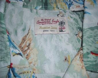 HAWAIIAN SHIRT- The Original American Eagle Outfitters - Size Medium - VINTAGE