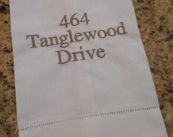 Personalized Monogrammed Linen Hand Towel with Address Housewarming or Wedding Gift