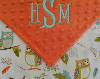 Personalized Monogrammed Baby Blanket Woodland Owl Minky Baby Boy Girl Neutral 29x34