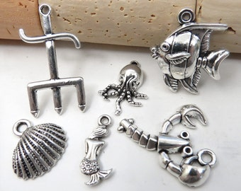 6 Little Mermaid Inspired Charms -Assorted Each Different - Antique Silver - Mermaid, Shell, Flounder, Lobster, Octopus, Trident - US Seller
