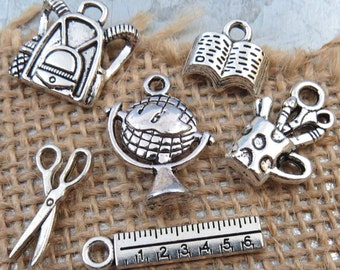 6 BACK TO SCHOOL Charms -Assorted Collection, Each Different- Tibetan Silver- Globe, Backpack, Book, Pencil Cup, Scissors, Ruler, Teacher