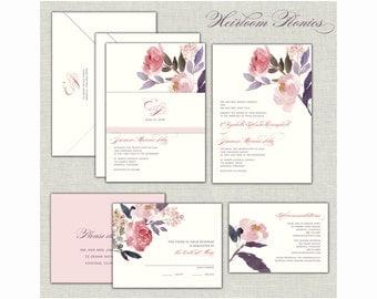 Wedding Invitation, Peonies Wedding Invitation Set, Blush Watercolor Wedding, Peony Wedding Invitations, Boho Wedding, Save the Date, Purple