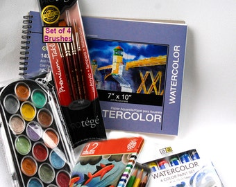 Painting Kit, pearlescent, watercolor paints, paper, watercolor pencils, paint brushes, Christmas gift, holiday gift