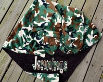 Camo Baby Blanket,  Personalized,Applique,Camouflage,  Brown Minky. Chocolate Minky, Newborn Blanket,Crib Blanket,Baby Boy,Minky Blanket