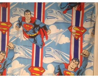 Vintage Up, Up and Away with Superman Super Hero Full Double Bed  Flat Sheet