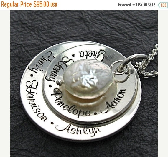 25% off sale - Personalized Necklace - Mother Necklace - Engraved Jewelry - CHARLOTTE  lg double cup w freshwater coin pearl necklace