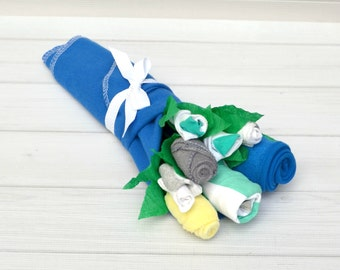 Unique Baby Boy Gift, Baby Clothing Bouquet, Baby Shower Gift, New Baby Gift, Baby Blossom, Baby Boy Clothing