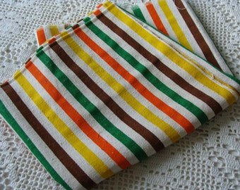 Vintage Nubby Stripe Fabric ~ Very Colorful