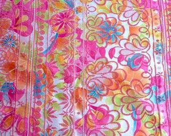 Vintage Fabric - Pink and Orange Silk Floral - 42 x 60