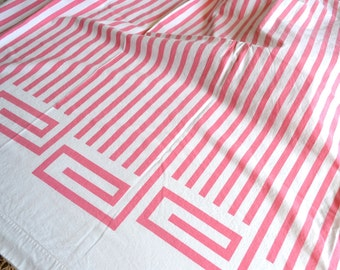 Vintage Bed Sheet - Pink Stripe Geometric - Twin Flat All Cotton