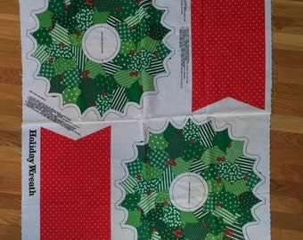 Vintage Cut and Sew Fabric Panel Holiday Wreath
