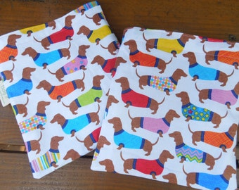 Reusable sandwich and/or snack bag - Reuse snack bag - Reusable bags set - Reusable sandwich bag - Ecofriendly lunch bags - Dachshunds