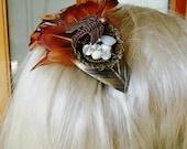 Bird Nest Swarovski Crystals Opal Heart Pheasant Feather French Clip Fasinator Bridal Hat Hair Clip Bronze Leaf Runway Statement