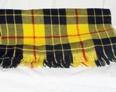 SCARF Womens Mens Black Yellow Red Plaid, MacLeod Tartan, 14 X 60 Vintage Woven, Fringes, Boys, Girls, Teens Soft