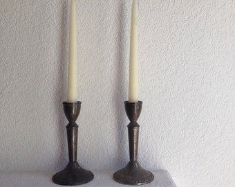 set of 2 sterling weighted mayflower candlesticks 1970s vintage