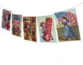 Vintage 4th of July Banner - Independence Day Garland - vintage July 4th postcards - photo reproductions on felt