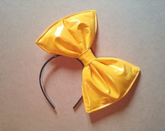 Sunshine yellow latex PVC hair bow fascinator headband or comb