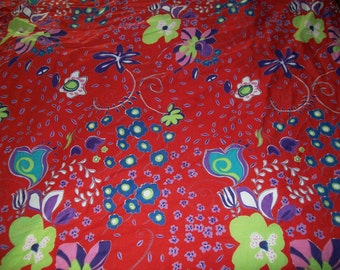Vintage Floral Fabric - Cotton Lawn - Light Weight Sewing Yardage - Dress, Blouse, Tunic - Red, Blue, Lime, Purple