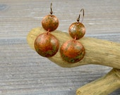 Two Circles, Boho, Copper Patina, Urban Dangle Earrings mme10