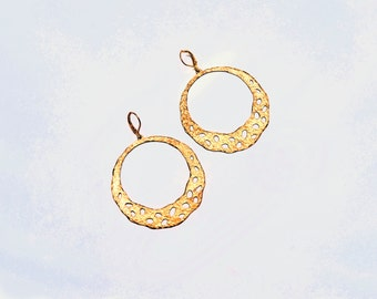 Brass Hoops, Textured, Dangle, Boho Earrings