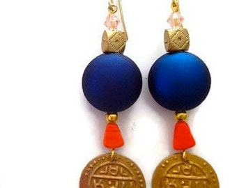 Trendy Gold Dangle Ethnic Arabian Gold Coin Earrings in Metallic Blue on Gold Plated Hooks