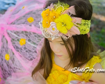Pink Lemonade Over the top headband, Light Pink Yellow Fabric Flower Rosettes Lace Feathers, infant baby toddler girl first birthday outfit