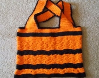 Bag for Halloween and then Use it as Shopping Bag - Market Bag - Beach Bag - Cotton Yarn in Orange and Black