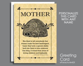 The Beekeeper Card, Mother's Day Card, personalized card, card for her, friend card, grandmother card, vintage beehive art, beekeeper quote