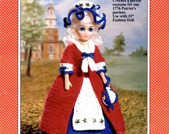Betsy Ross Crochet Fifteen Inch Fashion Doll Star Spangled Dress Cap Patriotic Red White and Blue Colonial Long Dress Craft Pattern Leaflet