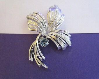 Vintage Emmons Silver Tone Leaf Brooch with Baby Blue Rhinestone